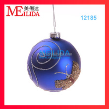 Hand- painted christmas ball with shiny butterfly