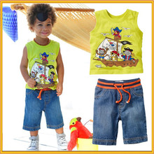 2015 wholesale children's boutique clothes new design boys clothing fashion t-shirt set for 3 years old boys