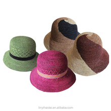 100% Madagascar raffia straw hats,handmade knitted hats