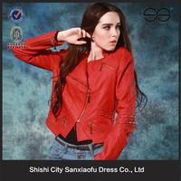 2015 Wholesale Girls Leather Jacket, Red Jacket, Half Jackets for Dresses