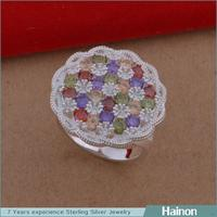 2015 wholesale korea s925 colorful zircon round surface women silver ring