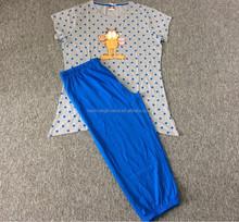 2015 jersey de verano pijama de algodón patrones para adultos, mujeres pijama de seda, modelos pijama