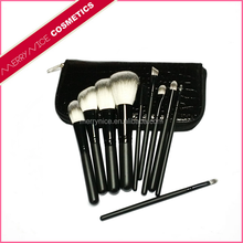 Merrynice black 10 piece custom manly makeup brushes with PU pouch