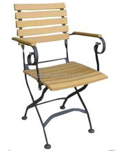 Iron outdoor arm chair, garden folding chair, patio steel dining chair