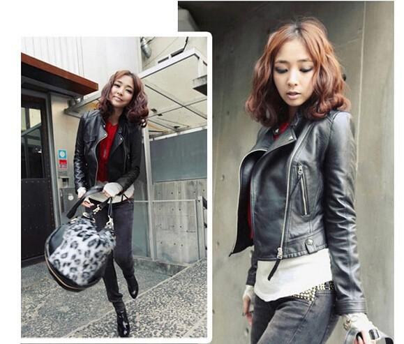 куртка мотоцикла тонкая кожа женщин кожаный жакет превратить Доу длинные молнии куртки пальто бесплатно Шипп