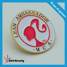 High quality gold plating soft enamel pin art, butterfly clutch, pin back