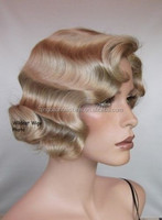 factory price top fashion stock brazilian hair finger wave wig