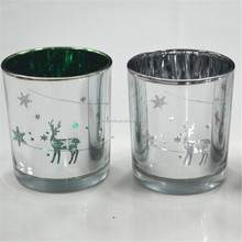 christmas promotional gifts sliver electroplating glass candle holder