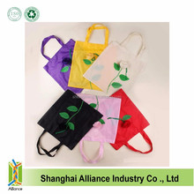 Rose Shape Promotional Eco Reusable Recycled Fruit Bag Nylon Polyester Folding Shopping Bags