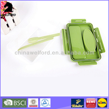 plastic food container with fork and spoon