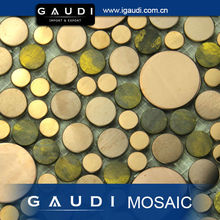 interior decoration round copper metal wall mosaic tile