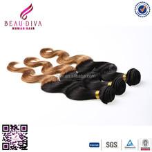grade 100% human weaving virgin peruvian natural wavy Body wave ombre hair T1b/30 unprocessed remy hair