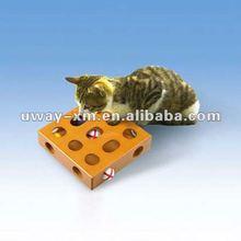 UW-CT-001 Personalized design square orange wood cat treasure toy box,cat training toys,treasure toy for cats