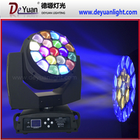 Cheap 19pcs bee eyes zoom sharpy moving head/ led rgbw colorful zoom stage light