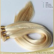 Wholesale 6A remy i -tip hair extension,virgin cheap blonde brazilian hair weft