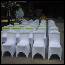 white spandex chair cover with band for party decoration/cheap hot sale popular lycra chair covers