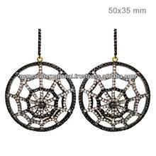 Aretes de Moda con Diamantes Incrustados Artes en Oro Amarillo de 14k y Plata Esterlina 925 Joyeria Fashion