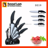 Ergonomic design 5pcs Ceramic kitchen Knife set in acrylic stand 4 knives and one peeler