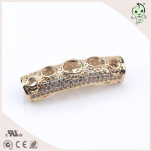 Hot Sale Pipe Hollow Design With Six Circle 100% Sterling Silver Tube Accessories