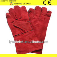 """Red leather welding gloves 12""""/14"""""""