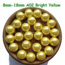 Bright Yellow Plastic/Acrylic Faux pearl beads 8mm 10mm 12mm Chunky beads for DIY fashion Children's Jewelry!! A02