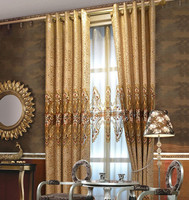 Luxury embroidery curtain drapes with sheer