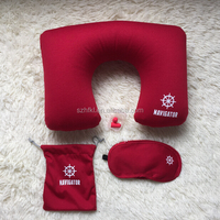 pocket inflatable travel pillow set with logo printed for promotion