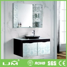 Industry products corrugated bathroom vanity in glass