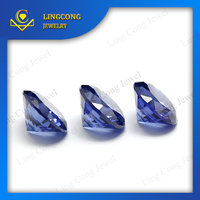 free sample good polishing lab created white and tanzanite cz