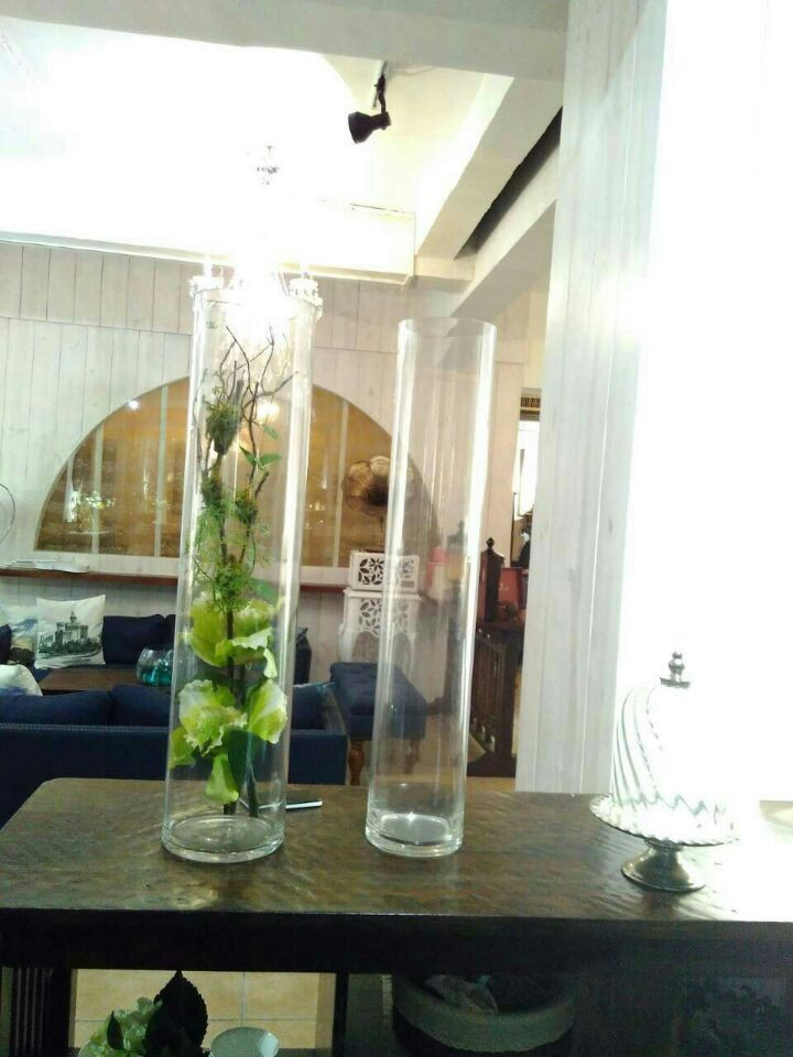 Clear tall cylinder glass vase for wedding centerpiece for - Idee deco vase en verre ...