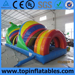 colorful rainbow Worm inflatable obstacle tunnel for kids
