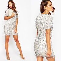 Juhai 3495 fat size women party hand work sequin dress