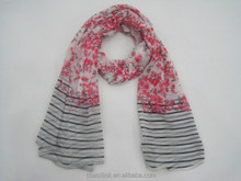 2015 New Fashion Plum Blossom Flower & Black Stripes Pattern Spring Scarf