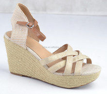 2015 New design wedge sandals hemp rope covered wedge platforms ladies sandals shoes