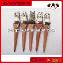 short wood cute animal ballpoint pen