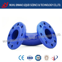 Double fixed flange bend 90deg DN100 manufacturer ductile Iron pipe fittings