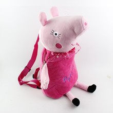 lovely kids cartoon backpack plush peppa pig backpack
