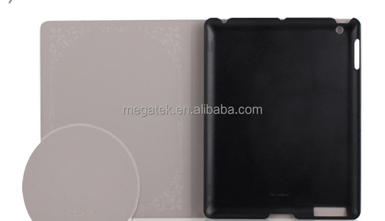 Super slim Fashion print folio leather case for ipad with plastic cradle