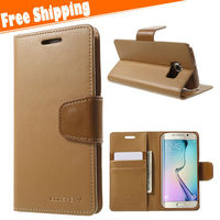 Luxury wallet leather case for Samsung galaxy S6 edge case flip cover with credit card holders