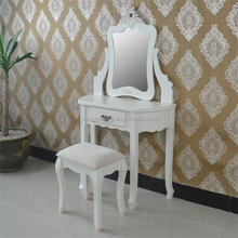 Vintage trade delicate vanity dressing table with mirror white dresser for bedroom furniture