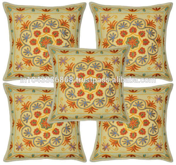 Cojines decorativos indio el trabajo de bordado fundas de cojines 100 almohada de algod n - Cojines indios ...