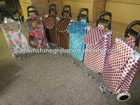 Promotional cheap fashion folding shopping bag folding trolley bag with wheels 2013 hot sale