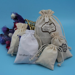 Custom printed cotton linen drawstring bags with logo, small drawstring cotton bags for promotion
