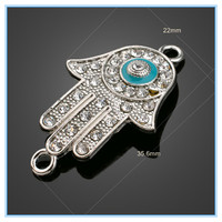 Good Luck Charms Hamsa Symbol Fatima Hand Shaped Evil Eye Pendant Necklace