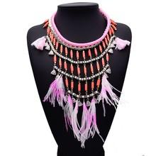 Moda étnica Style pink feather collares collar de cadena de plata