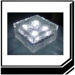 4LED light Solar Ice Glass Brick manufacture made in shenzhen