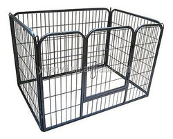 Heavy Duty Pet Puppy Playpen Outdoor/Pet Fence Rabbit Enclosure/Large Folding Pet Dog Playpen in Gunmetal Grey