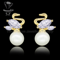 Top quality gold filled pearl jewelry swan design korea animal sex with ladies cute red earring