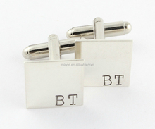 Personalized Initials Stainless Steel Silver Plated Square Cufflinks ,Custom Hand Stamped Men Cuff Links