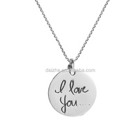 New design Sweet I Love you Message 925 Silver Necklace custom engraved letter initial disc pendant necklace